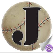 wall decals letter j baseball baby