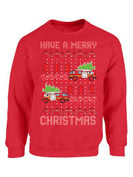 mezee fire truck sweatshirt toy truck ugly sweater funny gifts firefighter holiday sweatshirt xmas party outfit