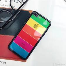 Designer Tempered Glass For Iphone 6 2018 New Arrival For Iphone 6 Phone Cases Rainbow Color Design For Goophone X Designer Phone Case Tempered Glass Phone Cover