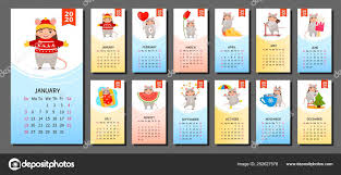 Chinese Calendar January 2020 Calendar 2020 Cute Monthly Calendar Girl Mouse Costume