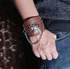 cat acceries premium light brown leather biker spider chain bracelet