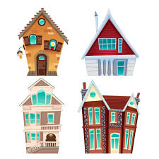 Four Cartoon Houses Vector Free Download