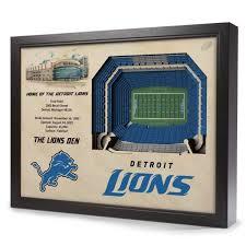 nfl detroit lions 25 layer stadiumview 3d wall art