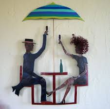 Upcycled Wall Art Hand Crafted Handmade Upcycled Metal Couple In Outdoor Cafe Wall