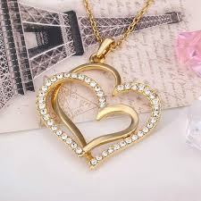 hot brand new 24k 18k yellow gold heart pendant necklaces for women jewelry 584 hot free fashion gemstone crystal necklac