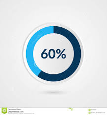 60 Pie Chart 60 Percent Blue Grey And White Pie Chart Percentage Vector