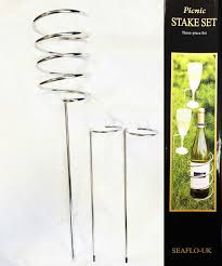 picnic wine bottle and glass holder stakes set camping beach outdoor bbq s