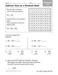 Subtract Tens On A Hundred Chart Homework Worksheet For 2nd