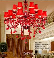 italy hanging red glass chandelier with fabric shade dining room wedding room candelabro de cristal light cafe led lamparas 12 15 18 lights brushed nickel