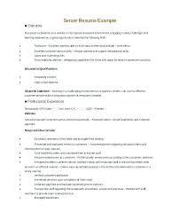 Sample Server Resume Best of Example Of Server Resume Fdlnews