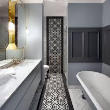 patterned tiles bathroom bathtub mirror fired earth eye catching