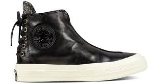 converse chuck taylor all star 70 leather and shimmer punk boot in black for men lyst