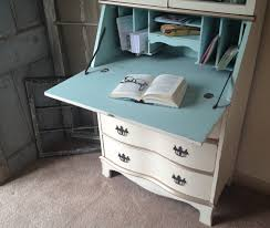 vintage secretary hutch cabinet desk small painted distressed love how it is white outside and blue inside
