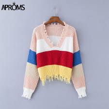 <b>Aproms Multi Color</b> Blocked Cropped Sweater Women Winter Deep ...