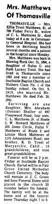 Effie Matthews obituary 1976 - Newspapers.com