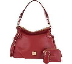Qvc Designer Bags Dooney Bourke Smooth Leather Shoulder Bag W Accessories Teagan Qvc Com