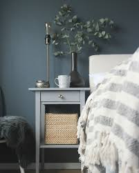 Our Bedroom With Dark Walls And Ikea Hemnes Bedside Table Hack. More