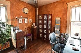 ideas burnt orange:  burnt orange brings rustic charm to the home office design regina acosta tobin