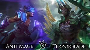 dota 2 terrorblade vs anti mage one click battle youtube