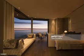 Twilight Ocean View Beyond Luxury Home Showcase Bedroom : Stock Photo