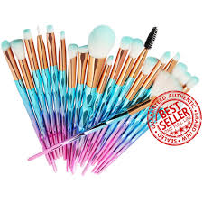 unicorn makeup brush set 20 piece mint green