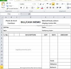 excel bill cash memo and bill format for furniture in excel top docx