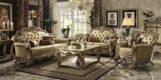 acme 53000 vendome living room collection gold patina finish