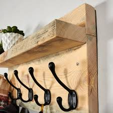 muska reclaimed scaffold board coat rack and shelf