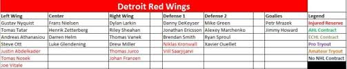 Detroit Red Wings Depth Chart Detroit Red Wings The Energy Line