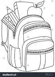 Small Picture Outlined School Backpack Vector Illustration Coloring Stock Vector