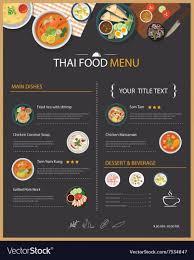 Resturant Menu Template Thai Food Restaurant Menu Template Flat Des Vector Image