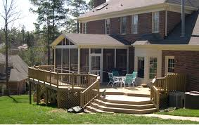 Tasteful Patio Deck Furnishing Ideas With Wooden Half Rail Fences As Well  As Sloping Back Enclosed Porch Decors Landscaping Views