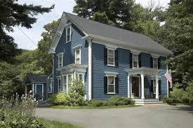 blue exterior paintPaint Color Ideas for Colonial Revival Houses  Blue shutters