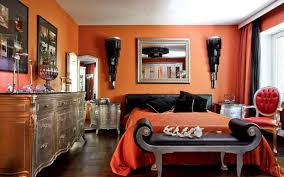 orange wall paintModern Interior Decorating with Silver Orange and Dark Room Colors