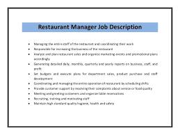 restaurant manager resume job description restaurant manager resume template
