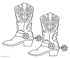 Cowboy Hat Coloring Pages Western Boots Page Free Printable