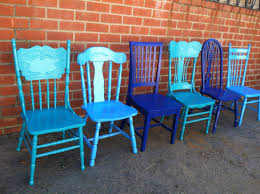 Coastal Blues Blue Dining Chairs Vintage Chairs Mismatch