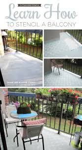 cutting edge stencils shares a diy painted and stenciled concrete balcony with the chain link allover