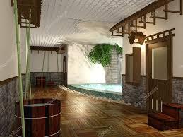 Japanischen Stil öffentliche Dusche Innenraum Stockfoto Geerati