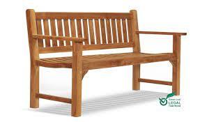 teak garden bench 3 seat flat arm