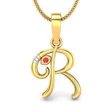 initial r vakratunda ruby pendant jewellery ping india yellow gold 14k candere by kalyan jewellers