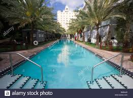 Luxurious infinity swimming pool at The National Hotel in Miami