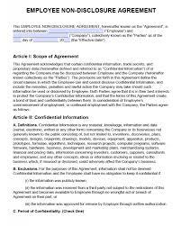 Nda Document Template Non Disclosure Agreement Nda Template Sample