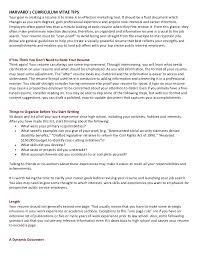 Harvard Resume Sample Harvards Curriculum Vitae Tips 1 728