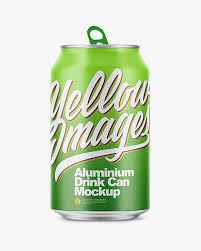 A set of two mockups showing a floating aluminum can (either 330 or 500 ml). 350ml Matte Aluminium Drink Can Mockup In Can Mockups On Yellow Images Object Mockups