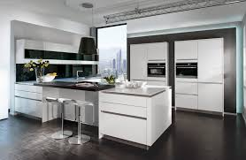 Modern Open Kitchen Design with White Cabinet Storage As Well Steel  Stainless Countertop Backsplash