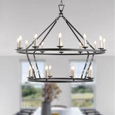 2 tier vintage round industrial chandelier ceiling light
