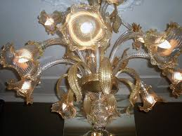 vetreria guarnier giordano guarnieri set of crystal chandeliers with gold leaf 12 light