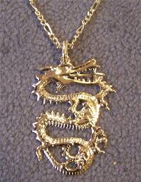 details about 2 large golden dragon pendant on chain necklace mens womens dragons jewelry 314