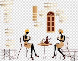 <b>Coffee</b> Time Tea <b>Cafe</b> Fashion, Cartoon girlfriends tea <b>transparent</b> ...